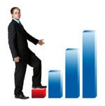 grafiek van een direct mailing zakenman die snel actie neemt en een goeie service  levert
