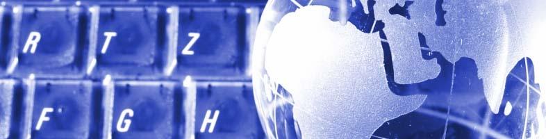 wereldbol voor een toetsenbord het logo van de e-mail marketing specialist.